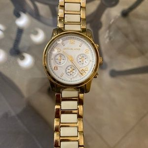 Michael Kors half ceramic watch in yellow gold